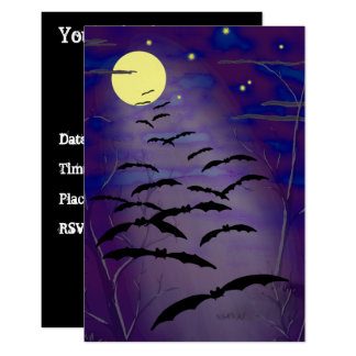 Bewitching Hour Full Moon & Bats Halloween Invite