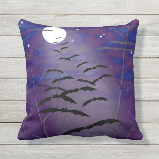 Bewitching Hour with Full White Moon and Bats Outdoor Cushion