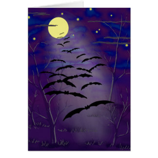 Bewitching Hour with Full Yellow Moon and Bats Card