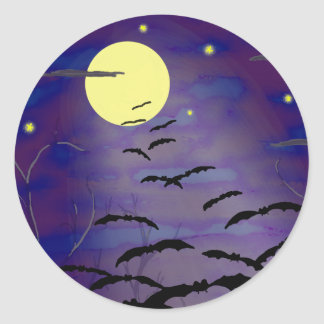 Bewitching Hour with Full Yellow Moon and Bats Classic Round Sticker