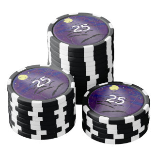 Bewitching Hour with Full Yellow Moon and Bats Poker Chips Set