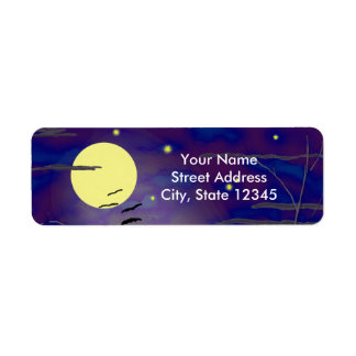 Bewitching Hour with Full Yellow Moon and Bats Return Address Label