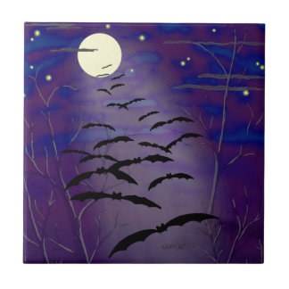 Bewitching Hour with Full Yellow Moon and Bats Tile