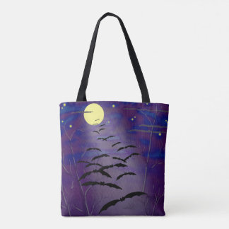 Bewitching Hour with Full Yellow Moon and Bats Tote Bag