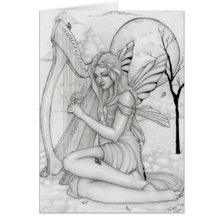 Beyond Time - fairy with harp Card
