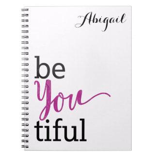 beYOUtiful Inspirational Message Personalized Notebook