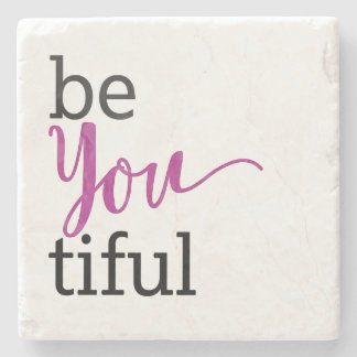 beYOUtiful Inspirational Message Stone Beverage Coaster