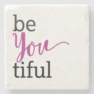 beYOUtiful Inspirational Message Stone Coaster