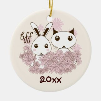 BFF - Best Friends Forever Cute Animal Kids Ivory Round Ceramic Decoration
