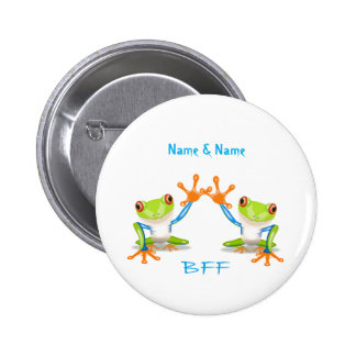 BFF Best Friends Forever Frogs 2 Inch Button Pin