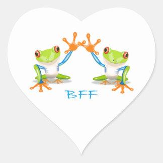 BFF Best Friends Forever Frogs Heart Sticker