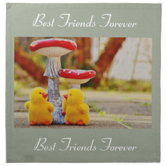 BFF Best Friends Forever Two Chicks Cotton Napkins