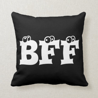 BFF Best Friends Forever Typography Black White Throw Pillow