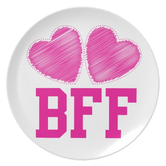 BFF Best Friends forever with love hearts Plate