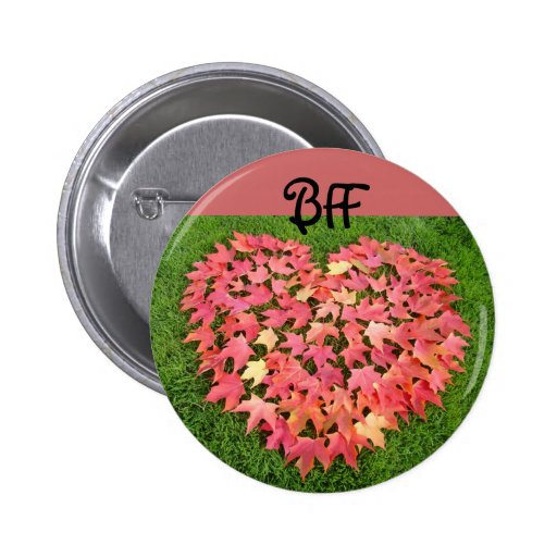 BFF button Heart Autumn Leaves Best Friends