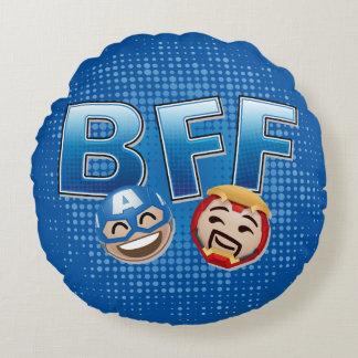 BFF Captain America & Iron Man Emoji Round Cushion