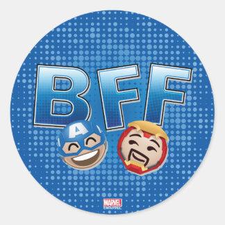 BFF Captain America & Iron Man Emoji Round Sticker