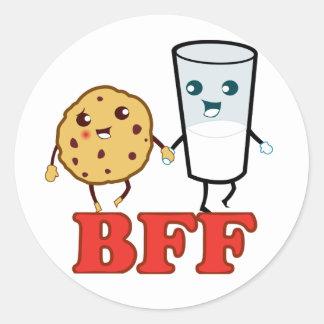 BFF, Cookie and Milk Round Sticker