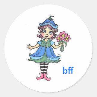 bff elf round sticker
