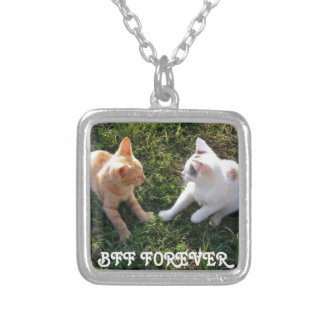 BFF Forever - best friends forever cute cats Silver Plated Necklace