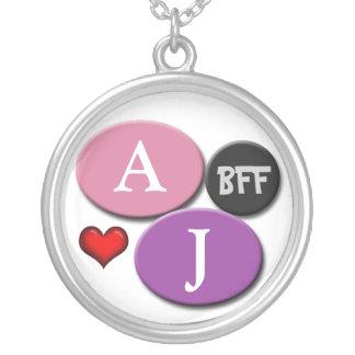 BFF Friendship Pink & Purple Round White Necklace