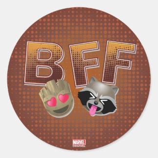 BFF Groot & Rocket Emoji Classic Round Sticker