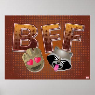 BFF Groot & Rocket Emoji Poster
