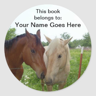 BFF Horses Book Labels Round Sticker