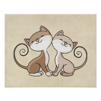 BFF Kitties with Curling Tails Poster