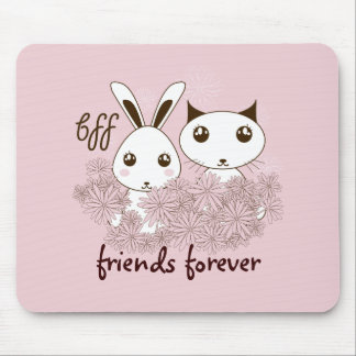 BFF - Original Girl Friendship Cute Animal Pink Mouse Pad