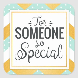 BFF someone so special happy gold minty chevron Square Sticker