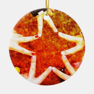 BFF Star Hands Round Ceramic Decoration