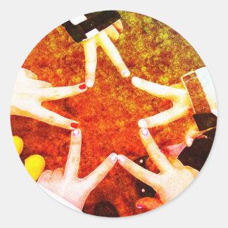 BFF Star Hands Round Sticker