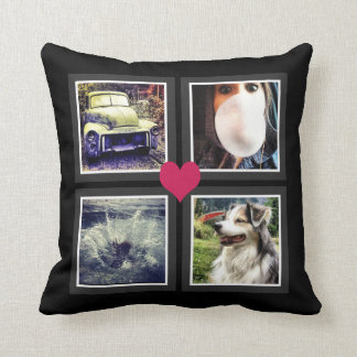 BFFs Cute Instagram Photo Collage with Heart Throw Cushions