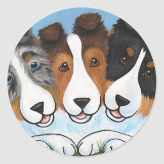 """BFF's"" Sable, Tri Color and Sable Shelties Classic Round Sticker"