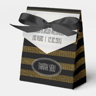 BG01 Glitter Gold & Black Stripes Party Favour Box