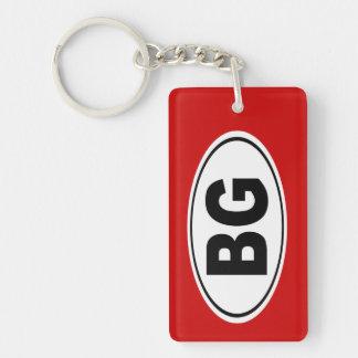 BG Bowling Green Kentucky Double-Sided Rectangular Acrylic Key Ring