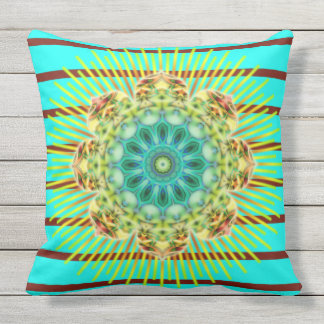 BG Stripes Pattern turquoise & mandala + your back Outdoor Cushion
