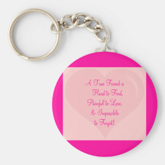 bgheart1, A True Friend is     Hard to Find,Pai... Basic Round Button Key Ring
