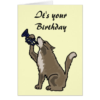 BH- Fun Wolf Playing the Trumpet Birthday Card