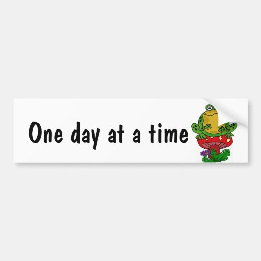 BH- Funny Frog One Day at a Time Bumper Sticker
