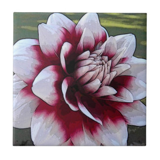 BH- Red and White Dahlia Floral Tile