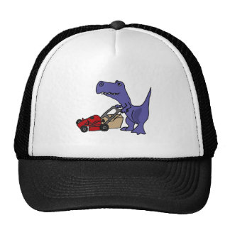 BH- T-rex Dinosaur Pushing Lawn Mower Trucker Hats