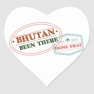 Bhutan Been There Done That Heart Sticker