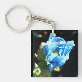 Bhutan Blue Poppy Single-Sided Square Acrylic Key Ring