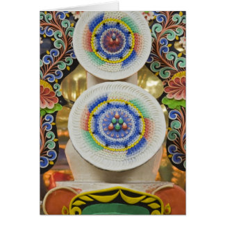 Bhutan. Ceremonial cakes made by monks adorn the Card