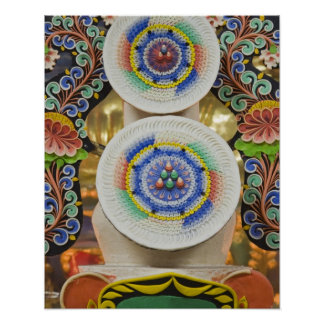 Bhutan. Ceremonial cakes made by monks adorn the Poster