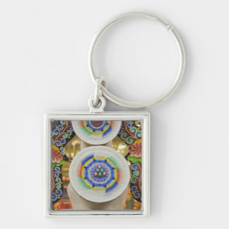 Bhutan. Ceremonial cakes made by monks adorn the Silver-Colored Square Key Ring