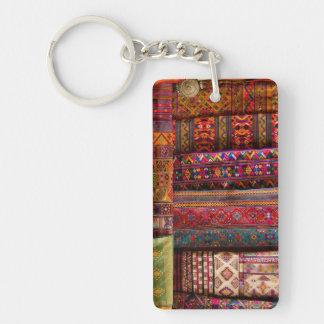 Bhutan fabrics for sale Double-Sided rectangular acrylic key ring