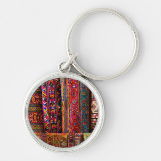 Bhutan fabrics for sale Silver-Colored round key ring